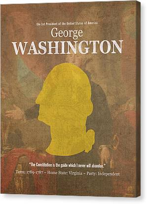 United States Of America President George Washington Facts And Portrait Poster Series Number 1 Canvas Print by Design Turnpike