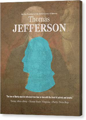 United States Of America President Thomas Jefferson Facts Portrait And Quote Poster Series Number 3 Canvas Print by Design Turnpike