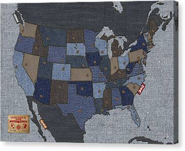 United States Of Denim Canvas Print by Michael Tompsett
