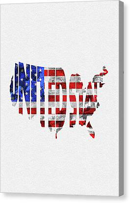 Dirty Canvas Print - United States Typographic Map Flag by Inspirowl Design