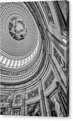 Canvas Print featuring the photograph Unites States Capitol Rotunda Bw by Susan Candelario