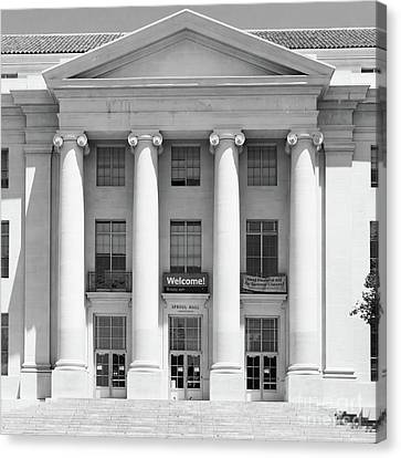 University Of California Berkeley Historic Sproul Hall At Sproul Plaza Dsc4081 Square Bw Canvas Print by Wingsdomain Art and Photography