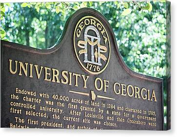 Canvas Print featuring the photograph University Of Georgia Sign by Parker Cunningham