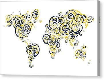 University Of Michigan Colors Swirl Map Of The World Atlas Canvas Print by Jurq Studio