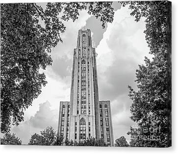 Big East Conference Canvas Print - University Of Pittsburgh Cathedral Of Learning Front by University Icons