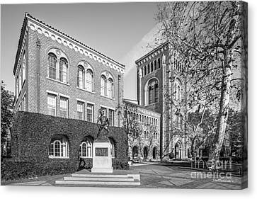 University Of Southern California Admin Bldg With Tommy Trojan Canvas Print by University Icons