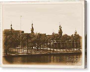 University Of Tampa - Old Postcard Framing Canvas Print by Carol Groenen
