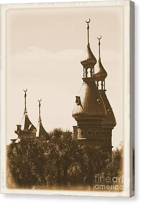 University Of Tampa Minarets With Old Postcard Framing Canvas Print by Carol Groenen