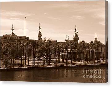 University Of Tampa With River - Sepia Canvas Print by Carol Groenen