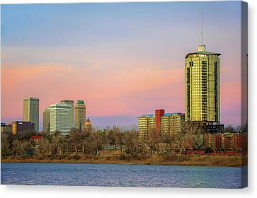 University Tower And Downtown Tulsa Skyline Canvas Print by Gregory Ballos