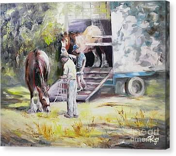 Unloading The Clydesdales Canvas Print