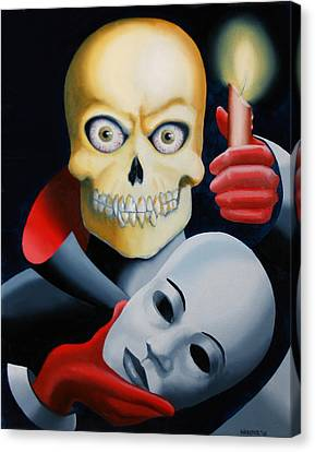 Unmasked - Skull Oil Painting Canvas Print by Mark Webster