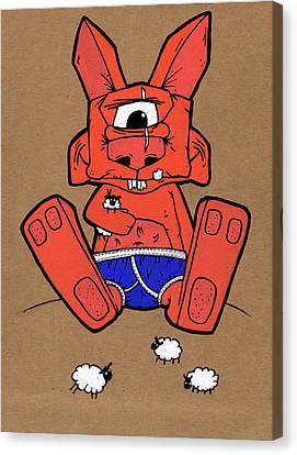 Uno The Cyclops Bunny Canvas Print by Bizarre Bunny