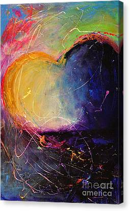 Unrestricted Heart Sunset Colors Canvas Print by Johane Amirault