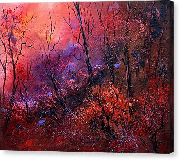 Unset In The Wood Canvas Print by Pol Ledent