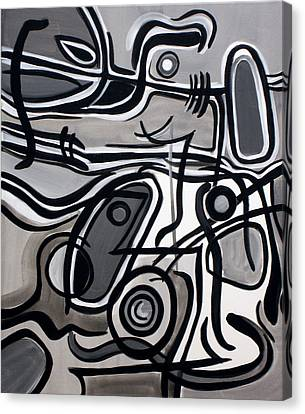Canvas Print featuring the painting Untitled Gray by Lynda Lehmann