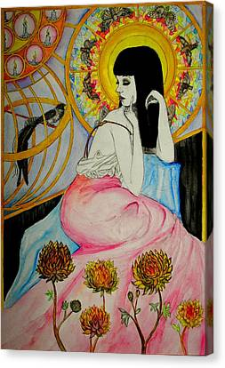 Canvas Print featuring the painting Untitled Muse 1 by Josean Rivera