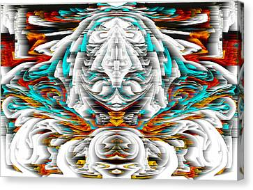 Canvas Print featuring the digital art 992.042212mirrorornategoldvert-2-c by Kris Haas