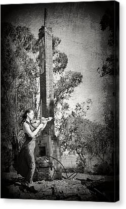 Up From The Ashes Girl With Violin Canvas Print by Pamela Patch