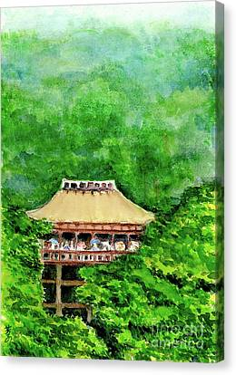 Canvas Print featuring the painting Up High Temple by Yoshiko Mishina