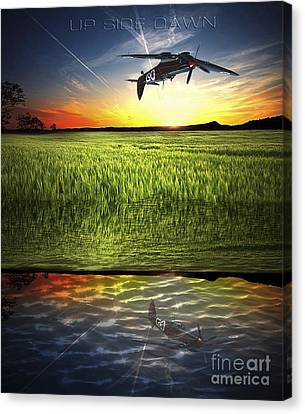 Canvas Print featuring the digital art Up Side Dawn by Amos Dor