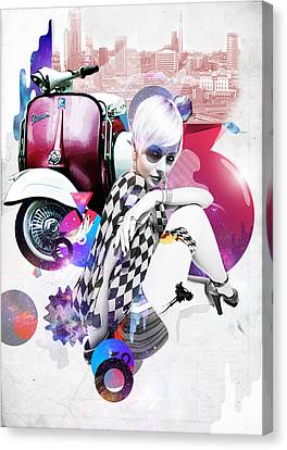 Up Town Top Scooter Girl Canvas Print by Eugene James