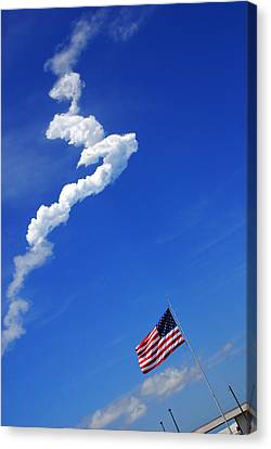 Up Up To The Sky - The Shuttle Is Gone Canvas Print by Susanne Van Hulst