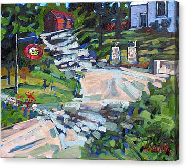 Uphill In Rockport Canvas Print by Phil Chadwick