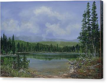 Canvas Print featuring the painting Upland Lake by Ken Ahlering