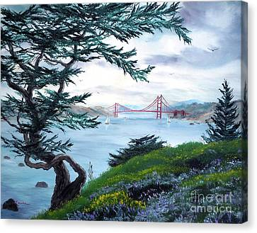 Upon Seeing The Golden Gate Canvas Print by Laura Iverson