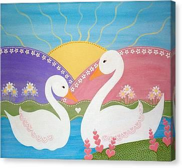 Upon Swan Lake Canvas Print by Samantha Shirley