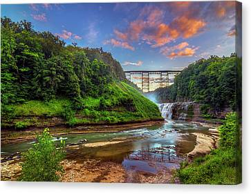 Upper Falls At Sunset Canvas Print by Mark Papke