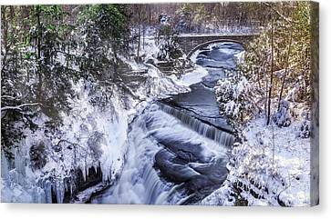 Upper Taughannock Winter Canvas Print by Mark Papke