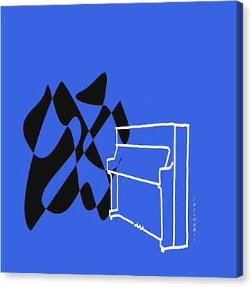 Upright Piano In Blue Canvas Print by David Bridburg