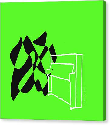 Upright Piano In Green Canvas Print by David Bridburg