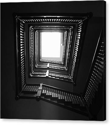 Upstairs- Black And White Photography By Linda Woods Canvas Print by Linda Woods