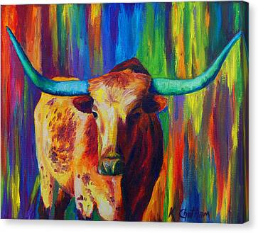 Uptown Longhorn Canvas Print by Karen Kennedy Chatham