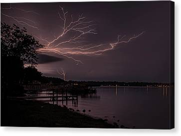 Upward Lightning Canvas Print by John Crothers
