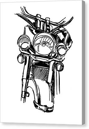 Urban Drawing Motorcycle Canvas Print by Chad Glass
