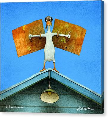 Canvas Print featuring the painting urban Icarus... by Will Bullas