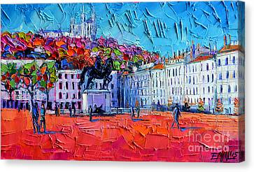 Impression Canvas Print - Urban Impression - Bellecour Square In Lyon France by Mona Edulesco