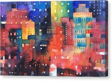 urban landscape 8 - Shadows and lights Canvas Print by Alessandro Andreuccetti