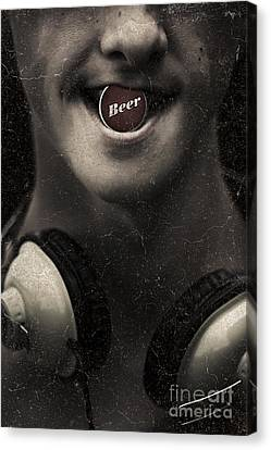 Urban Man Wearing Headphones And Beer Cap In Mouth Canvas Print by Jorgo Photography - Wall Art Gallery