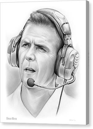 Urban Meyer Canvas Print by Greg Joens