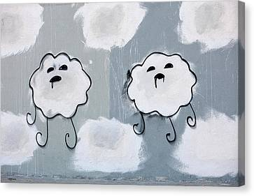 Canvas Print featuring the photograph Urban Rain Clouds by Art Block Collections