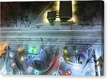 Canvas Print featuring the photograph Urban Road And Driveway In Fresh Snow by Charline Xia