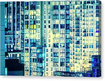 Downtown Vancouver City By Night Canvas Print