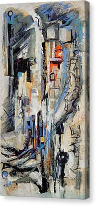 Canvas Print featuring the painting Urban Street 2 by Mary Schiros