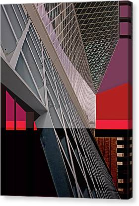 Canvas Print featuring the digital art Urban Sunset by Walter Fahmy