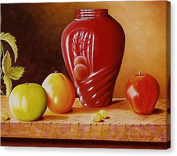 Canvas Print featuring the painting Urn An Apple by Gene Gregory